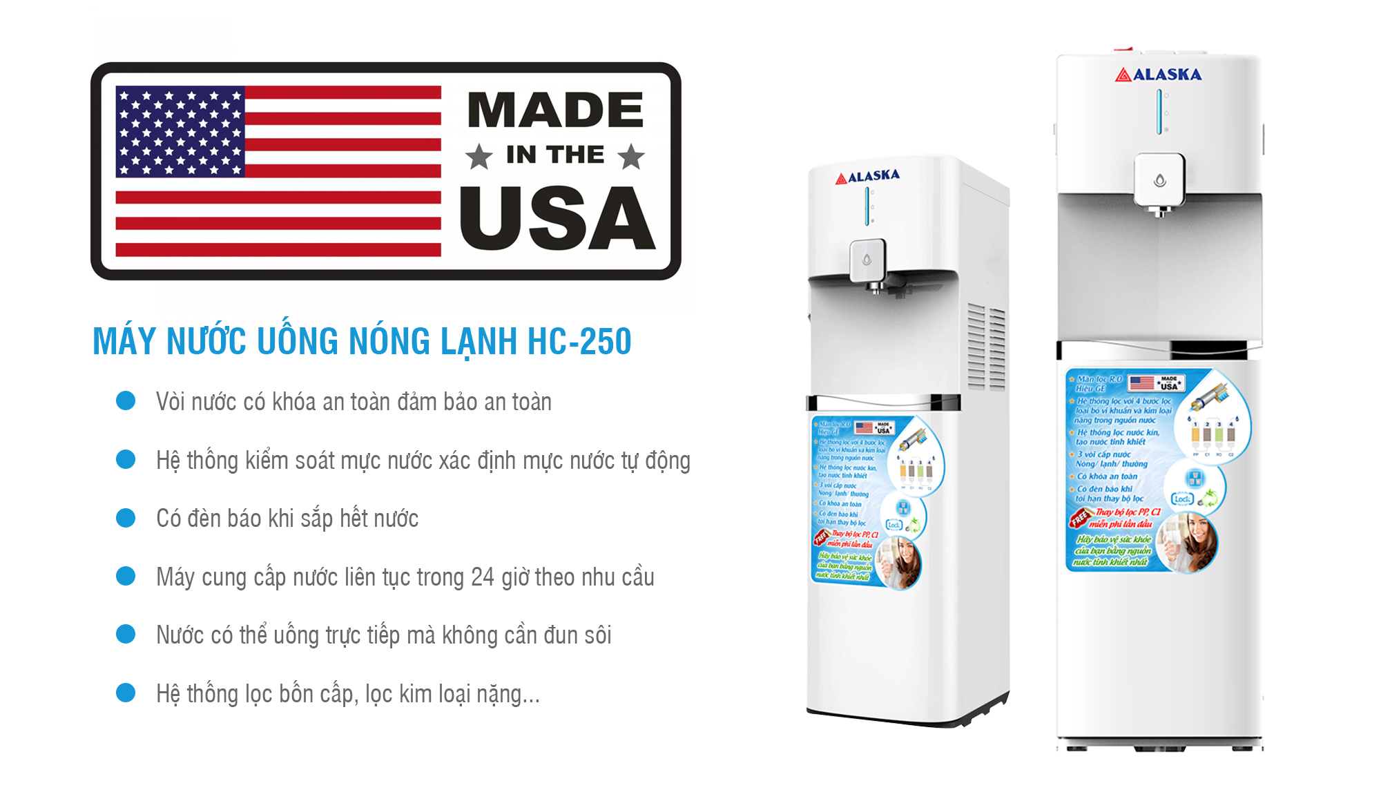 Máy nước uống nóng lạnh Alaska HC-250
