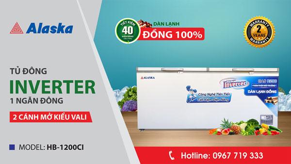 Video thực tế tủ đông inverter Alaska HB-1200CI